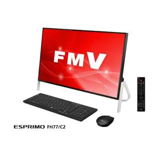 ESPRIMO FH77/C2 23.8型デスクトップPC[Office付き・Win10 Home・Core i7・HDD 1TB・メモリ 8GB] FMVF77C2B ブラック
