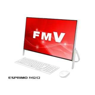 ESPRIMO FH52/C2 23.8型デスクトップPC[Office付き・Win10 Home・Celeron・HDD 1TB・メモリ 4GB] FMVF52C2W ホワイト